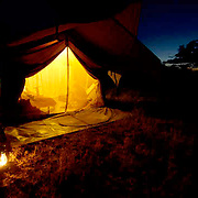 Tent camp in Tanzania at night. Africa.