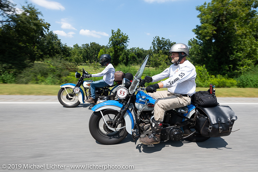 Marty Patterson (right) riding his 1946 UL Harley-Davidson beside his his friend Brian Doefler in the Cross Country Chase motorcycle endurance run from Sault Sainte Marie, MI to Key West, FL. (for vintage bikes from 1930-1948). Stage-7 covered 249 miles from Macon, GA to Tallahassee, FL USA. Thursday, September 12, 2019. Photography ©2019 Michael Lichter.