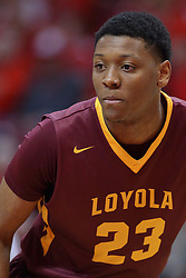 19 February 2017:  Cameron Satterwhite during a College MVC (Missouri Valley conference) mens basketball game between the Loyola Ramblers and Illinois State Redbirds in  Redbird Arena, Normal IL