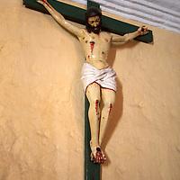 South America, Peru, Arequipa. Jesus on Cross at Monasterio de Santa Catalina.