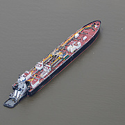 Aerial footage shows an empty container ship in New York City during the Coronavirus (Covid-19) outbreak along with the continuing protests due to the police killing of George Floyd on Monday, June 1, 2020 in New York City.  Nonessential businesses have been closed and large gatherings have been banned across the state since March 22 under an emergency order issued by Governor Cuomo and an 11 p.m. curfew was ordered by NY Mayor Bill de Blasio amid the Floyd protests. (Alex Menendez via AP)