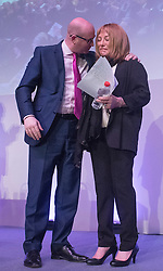 © Licensed to London News Pictures. 28/02/2015. Margate, UK. L-R Paul Nuttall comforts Kellie Maloney after she made an emotional speech at the second day of the conference.  The UKIP spring conference at Margate Winter Gardens 28th February 2015. Photo credit : Stephen Simpson/LNP