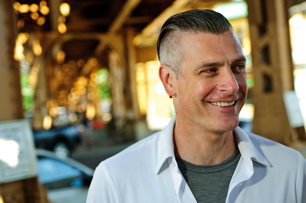 Blue Daring team photo session- John Cockrell is photographed at the Chicago Transit Authority Blue Line California Station in the city's Logan Square neighborhood on Thursday, July 10th. ©2014 Brian J. Morowczynski ViaPhotos
