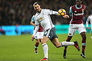Zlatan Ibrahimovic of Manchester United in action. Premier league match, West Ham Utd v Manchester Utd at the London Stadium, Queen Elizabeth Olympic Park in London on Monday 2nd January 2017.<br /> pic by John Patrick Fletcher, Andrew Orchard sports photography.