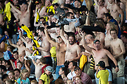 Wellington Phoenix fans, during their 1-0 win over Melbourne City FC, during the Hyundai A-League football match, between Wellington Phoenix and Melbourne City FC, held at Eden Park, Auckland, New Zealand.  15  February  2020    Photo: Brett Phibbs / www.photosport.nz