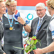 NZL M2- (b) Eric MURRAY (s) Hamish BOND – 1st place 6:09.34 SAT 30 AUG 2014<br /> <br /> Gerry Dwyer RNZ Chairman<br /> <br /> Crews racing the World Championships on The Bosbaan, Amsterdam, The Netherlands, 29/30/31 August 2014  Copyright photo © Steve McArthur / @rowingcelebration www.rowingcelebration.com
