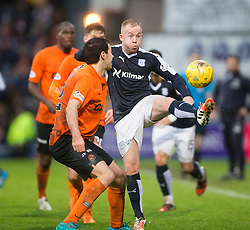 Dundee United's Ryan McGowanan and Dundee's Nicky Low. <br /> Dundee 2 v 1  Dundee United, SPFL Ladbrokes Premiership game played 2/1/2016 at Dens Park.
