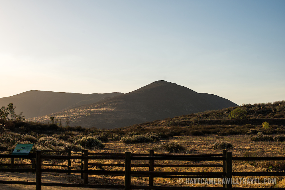 The low mountains on the skyline at Temecula, Calfornia, near Skinner Lake in the late afternoon light.
