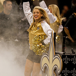 2009 August 14: Saintsations dancers take to the field before the start of a preseason opener between the Cincinnati Bengals and the New Orleans Saints at the Louisiana Superdome in New Orleans, Louisiana.