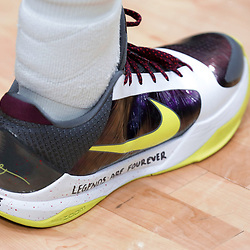 Jan 26, 2020; New Orleans, Louisiana, USA;  A detail of sneakers worn by New Orleans Pelicans guard Josh Hart with a tribute inscription to former Los Angeles Lakers star Kobe Bryant whom died in a helicopter crash Sunday morning prior to tip off against the Boston Celtics at the Smoothie King Center. Mandatory Credit: Derick E. Hingle-USA TODAY Sports