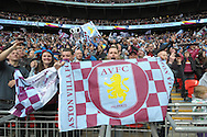 Aston Villa fans celebrate after the final whistle as they book their place in the FA Cup Final. The FA Cup, semi final match, Aston Villa v Liverpool at Wembley Stadium in London on Sunday 19th April 2015.<br /> pic by John Patrick Fletcher, Andrew Orchard sports photography.