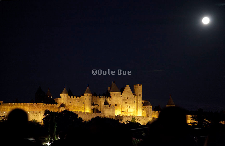 full moon above the medialval Castle in La Cite Carcassonne