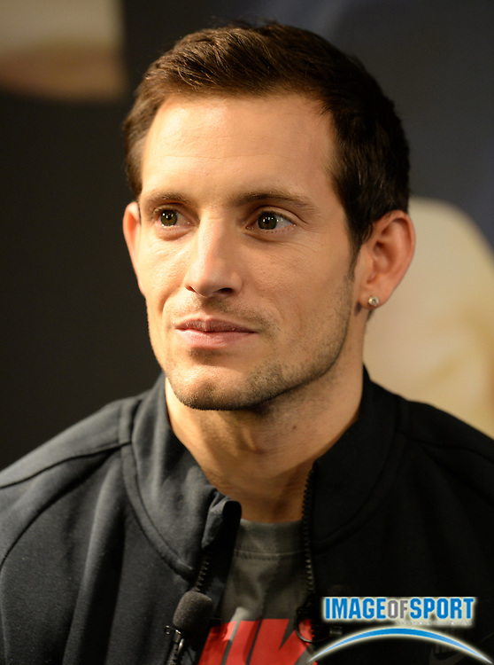 Feb 17, 2014; Paris, France; Renaud Lavillenie (FRA) at press conference at Nike Running Paris-St. Michel store after setting a world record of 20-2 1/2 (6.16m). Photo by Jiro Mochizuki