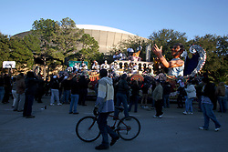 09 February 2010. New Orleans, Louisiana, USA. <br /> Saints Mania captures New Orleans like no other parade. The New Orleans Saints victorous NFL football team makes its way from the Superdome through the city. Drew Brees and the team make their way through screaming fans. The team salutes the massed crowds along the victory parade route in downtown New Orleans following the team's stunning victory over the Indianapolis Colts for Superbowl 44. <br /> Photo©; Charlie Varley. Varleypix.com
