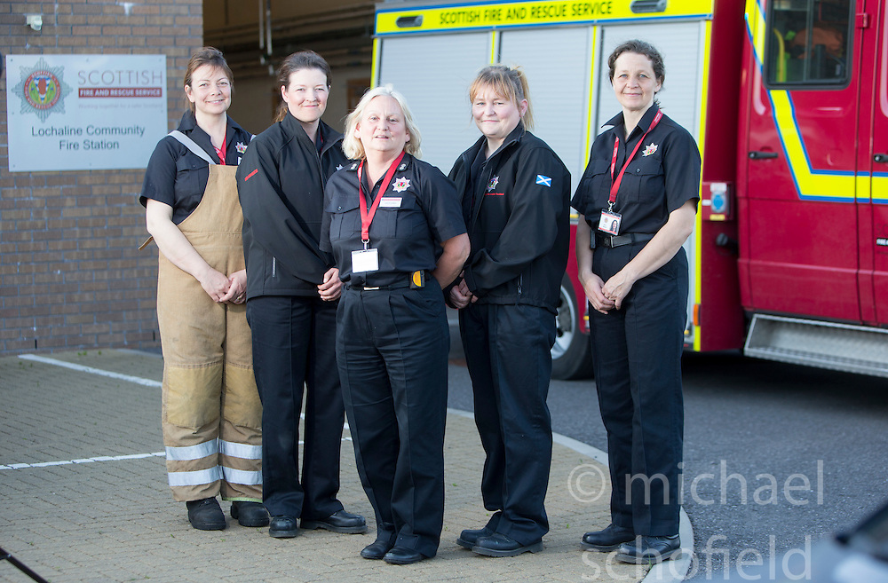 Annabel Lawrence, Heather Brown, Watch Manager Lesley Jones, Sarah Jones and Bonny Mealand. News feature on the nearly all-female firefighting crew based at the Fire Shed, Lochaline, on the Morvern Peninsula.