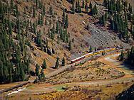 Durango & Silverton Narrow Gauge Railroad in the Animas River Canyon, Colorado, USA