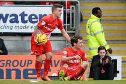 Orient's Dean Cox and Orient's David Mooney  - Photo mandatory by-line: Mitchell Gunn/JMP - Tel: Mobile: 07966 386802 22/02/2014 - SPORT - FOOTBALL - Brisbane Road - Leyton - Leyton Orient V Swindon Town - League One
