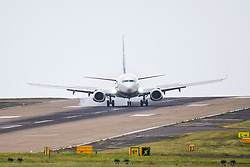 © Licensed to London News Pictures. 14/06/2018. Leeds UK. A Ryan Air jet struggles to land in heavy cross winds at Englands highest airport, Leeds Bradford as Storm Hector begins to batter Britain. Photo credit: Andrew McCaren/LNP