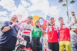 08.09.2018, Lienz, AUT, 31. Red Bull Dolomitenmann 2018, im Bild Werner Grissmann , Sieger, Geismayr Daniel (AUT, Kolland Topsport Professional), Kubrican Lukas (CZE, Kolland Topsport Professional), Joseph Gray (USA, Kolland Topsport Professional), Maurer Chrigel (CHI, Kolland Topsport Professional) // Werner Grissmann , Winner Geismayr Daniel (AUT, Kolland Topsport Professional), Kubrican Lukas (CZE, Kolland Topsport Professional), Joseph Gray (USA, Kolland Topsport Professional), Maurer Chrigel (CHI, Kolland Topsport Professional) during the 31th Red Bull Dolomitenmann. Lienz, Austria on 2018/09/08, EXPA Pictures © 2018, PhotoCredit: EXPA/ JFK