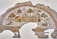 4th century AD Roman mosaic depiction of Roman Villa farms in Africa. The Bardo Museum, Tunis, Tunisia. .<br /> <br /> If you prefer to buy from our ALAMY PHOTO LIBRARY  Collection visit : https://www.alamy.com/portfolio/paul-williams-funkystock/roman-mosaic.html - Type -   Bardo    - into the LOWER SEARCH WITHIN GALLERY box. Refine search by adding background colour, place, museum etc<br /> <br /> Visit our ROMAN MOSAIC PHOTO COLLECTIONS for more photos to download  as wall art prints https://funkystock.photoshelter.com/gallery-collection/Roman-Mosaics-Art-Pictures-Images/C0000LcfNel7FpLI