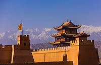 Jiayuguan Fort is the western end of the Great Wall built in the Ming Dynasty (1368 – 1644). It was an important military fortress and  key waypoint of the ancient Silk Road. This was the last major stronghold of Imperial China. Gansu Province, China.