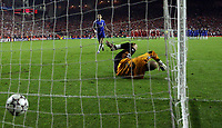 Photo: Paul Thomas.<br /> Liverpool v Chelsea. UEFA Champions League. Semi Final, 2nd Leg. 01/05/2007.<br /> <br /> Frank Lampard scores his penalty for Chelsea.