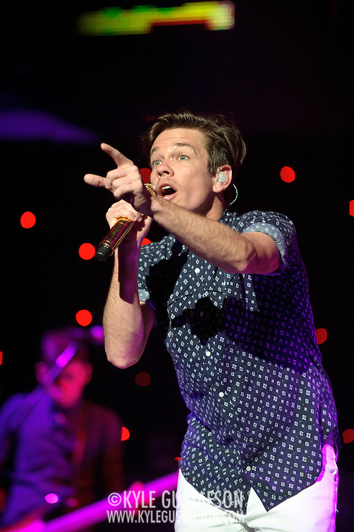 """WASHINGTON, DC - January 31st,  2013 - Nate Ruess of fun. (right) and Nate Harold perform at DAR Constitution Hall in Washington, D.C. The band is still riding high off of the success of their sophomore album """"Some Nights"""" which featured with hits """"We Are Young"""" and the title track. (Photo by Kyle Gustafson/For The Washington Post)"""