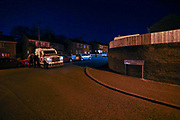 A PSNI (Police Service of Northern Ireland) armoured vehicle is seen at the crime scene of a shooting incident in Mount Vernon Road in North Belfast on late Saturday, April 24, 2021. (Photo/ Vudi Xhymshiti)