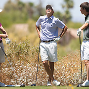 American Junior Golf Association player Jordan Spieth (center) has a laugh with Oliver Schniederjans(right) and Patrick Cantlay at the Thunderbird International Junior tournament.
