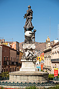 Peace Monument in the center of the Plaza of Peace or Plaza de la Paz in the historic center of Guanajuato City, Guanajuato, Mexico.