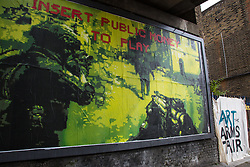 London, UK. 11 September, 2019. An exhibition of art and programme of events entitled Art at the Arms Fair and intended to 'expose' the DSEI arms fair at ExCel London and 'to support those working to challenge it' is currently being hosted at three venues in Peckham including, as seen here, AMP Studios on Old Kent Road. Artwork is being exhibited by artists including Sir Anish Kapoor, Shepard Fairey, Hito Steyerl, Peter Kennard, Zehra Doğan, Ralph Ziman, Jill Gibbon, young Londoners and Yemeni artists. Funds raised will support Campaign Against The Arms Trade (CAAT).