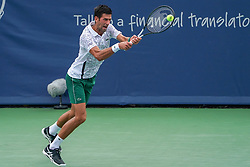 August 15, 2018 - Mason, Ohio, USA - Novak Djokovic (SRB) in action during Wednesday's second round of the Western and Southern Open at the Lindner Family Tennis Center, Mason, Oh. (Credit Image: © Scott Stuart via ZUMA Wire)