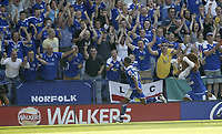 Photo: Aidan Ellis.<br /> Leicester City v Watford. Coca Cola Championship. 25/08/2007.<br /> Leicester's D J Campbell celebrates his goal and teams second with the fans