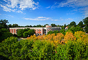 The Music Building with early autumn trees.