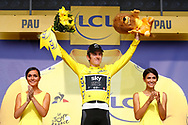 Podium, Hotess, Miss, Geraint Thomas (GBR - Team Sky) yellow jersey during the 105th Tour de France 2018, Stage 18, Trie sur Baise - Pau (172 km) on July 26th, 2018 - Photo Luca Bettini / BettiniPhoto / ProSportsImages / DPPI