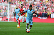 Sergio Aguero of Manchester city in action. The Emirates FA Cup semi-final match, Arsenal v Manchester city at Wembley Stadium in London on Sunday 23rd April 2017.<br /> pic by Andrew Orchard,  Andrew Orchard sports photography.