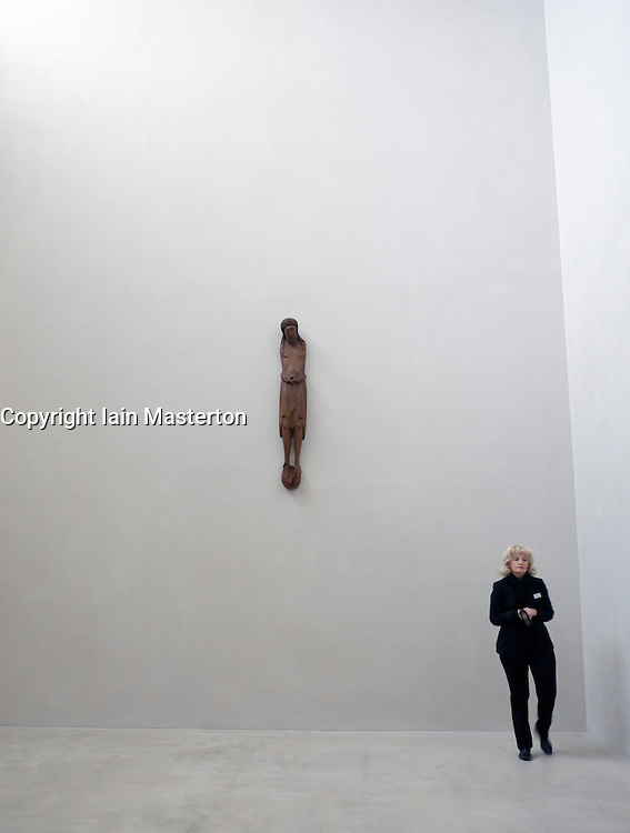 Wooden carving Crucifix from twelfth century Rheinland  in Kolumba Museum in Cologne Germany