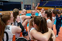 Netherlands, Marije ten Brinke of Netherlands, Jette Kuipers of Netherlands celebrate 3-2 win against USA during United States - Netherlands, FIVB U20 Women's World Championship on July 15, 2021 in Rotterdam