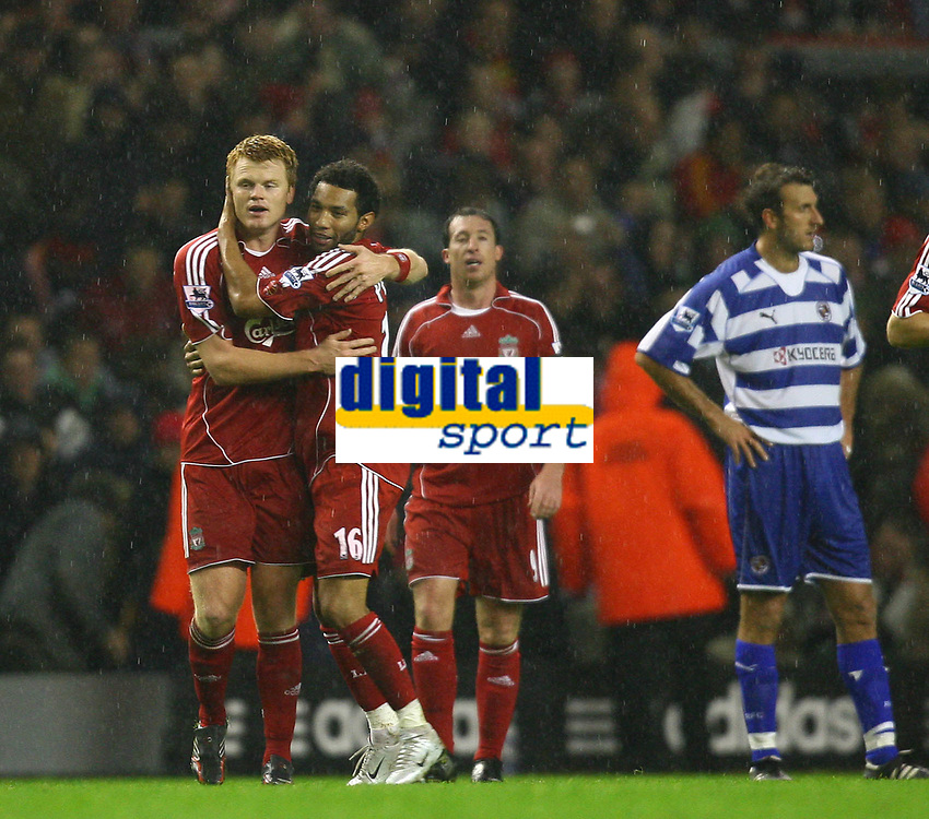 Fotball<br /> England <br /> League Cup 3rd round<br /> Liverpool v Reading<br /> Foto: Propaganda/Digitalsport<br /> NORWAY ONLY<br /> <br /> LIVERPOOL, ENGLAND - WEDNESDAY, OCTOBER 25th, 2006: Liverpool's John Arne Riise celebrates scoring the second goal against Reading, with his team-mates Jermaine Pennant during the League Cup 3rd Round match at Anfield