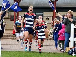 Amber Reed (c) of Bristol Ladies and mascot lead out the teams - Mandatory by-line: Robbie Stephenson/JMP - 18/09/2016 - RUGBY - Cleve RFC - Bristol, England - Bristol Ladies Rugby v Aylesford Bulls Ladies - RFU Women's Premiership