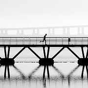 Man on his morning run at Parque das Nações, Lisbon.