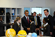 Barack Obama and David Cameron meet pupils at the Globe Academy school on May 24th in London, United Kingdom. The US president and British Prime Minister visited the school on Obamas first day in the country on his state visit.