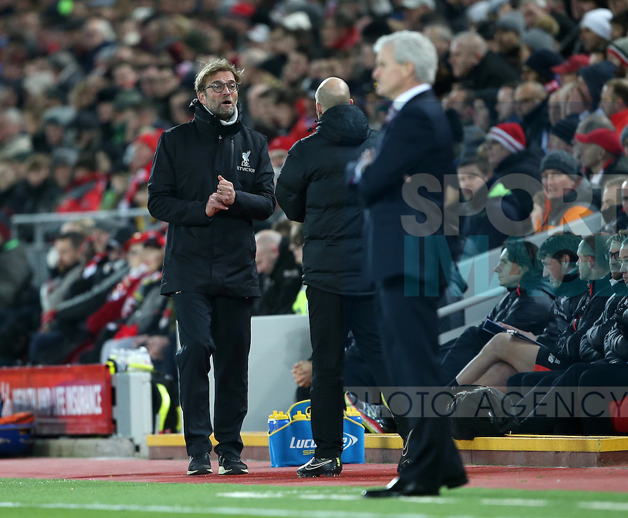 Liverpool's Jurgen Klopp in action during the Premier League match at Anfield Stadium, Liverpool. Picture date December 27th, 2016 Pic David Klein/Sportimage