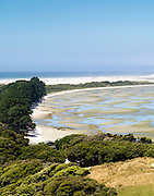 Looking EME across Farewell Spit from the top of a local hill near Puponga, New Zealand.