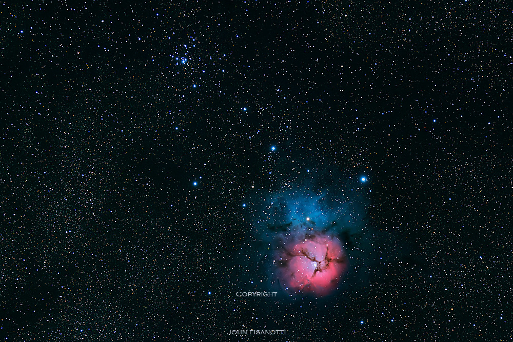 Messier 20 (M20) the Trifid Nebula (lower right) and Messier 21 (M21)open cluster (upper left)