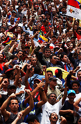 Supporters of President Chavez cheer after the closing of a special session of the National Assembly being held in a park.  Pro-government assembly members called for the session after fighting broke out in Congress two days before. During this special session, which opposition members did not attend,  members voted to pass a law changing the debate rules in congress.  The law intends to help pass measures supported by President Chavez and his supporters.