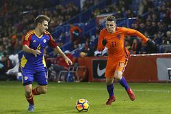 (L-R), Claudi Bove of Jong Andorra, Oussama Idrissi of Jong Oranje during the EURO U21 2017 qualifying match between Netherlands U21 and Andorra U21 at the Vijverberg stadium on November 10, 2017 in Doetinchem, The Netherlands