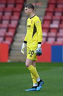 Cheltenham Town goalkeeper Joshua Griffiths (20) during the EFL Sky Bet League 2 match between Cheltenham Town and Crawley Town at Jonny Rocks Stadium, Cheltenham, England on 10 October 2020.