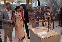 July 17, 2018 - London, London, United Kingdom - Image licensed to i-Images Picture Agency. 17/07/2018. London, United Kingdom. The Duke and Duchess of Sussex look at a pickaxe similar to the one used by Nelson Mandela on Robben Island  at the Nelson Mandela exhibition in London. (Credit Image: © Pool/i-Images via ZUMA Press)