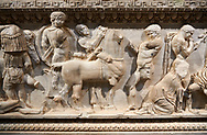 Roman relief sculpted sarcophagus of Achilles from Attica. This side shows scenes from the life of Achilles and bears characteristics of the Late Antonines Period of the Roman Imperial Period between 170-190 AD. Adana Archaeology Museum, Turkey .<br /> <br /> If you prefer to buy from our ALAMY STOCK LIBRARY page at https://www.alamy.com/portfolio/paul-williams-funkystock/greco-roman-sculptures.html . Type -    Adana     - into LOWER SEARCH WITHIN GALLERY box - Refine search by adding a subject, place, background colour, museum etc.<br /> <br /> Visit our ROMAN WORLD PHOTO COLLECTIONS for more photos to download or buy as wall art prints https://funkystock.photoshelter.com/gallery-collection/The-Romans-Art-Artefacts-Antiquities-Historic-Sites-Pictures-Images/C0000r2uLJJo9_s0
